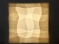 Fra Lyshulen IV, 2019, Silkepapir, kinapapir og kalke på LED lampe, 30 x 30 cm.
